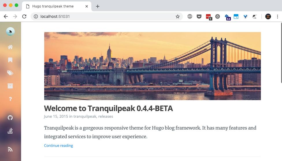 Hugo Tranquilpeak Example Site Screenshot